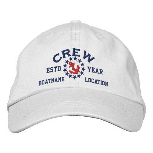 Personalizable YEAR and Names Crew Yacht Flag Embroidered Baseball Hat