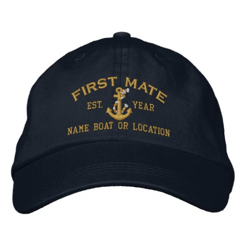 Personalizable YEAR and Names First Mate Anchor Embroidered Baseball Hat