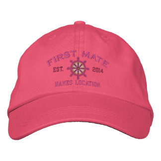 Personalizable YEAR and Names First Mate Wheel Embroidered Hat