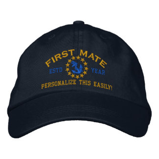 Personalizable YEAR and Names First Mate Yacht Embroidered Baseball Cap