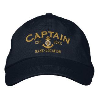 Personalizable YEAR+Names Captain Lifesaver Anchor Embroidered Baseball Cap