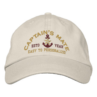 Personalizable YEAR Names Captain's Mate Gold Star Embroidered Baseball Cap