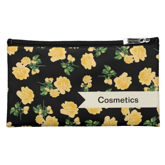Personalizable yellow roses on black cosmetics bag