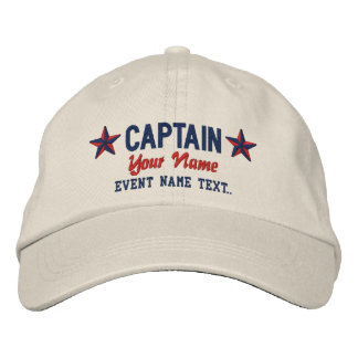 Personalizable Your Name Captain Stars Embroidery Baseball Cap