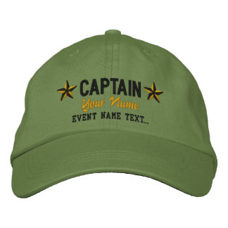 Personalizable Your Name Captain Stars Embroidery Embroidered Baseball Cap