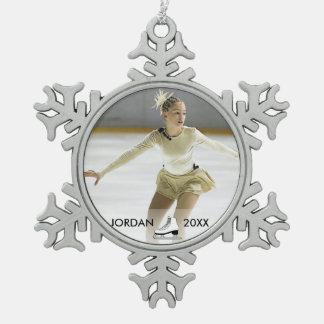 Personalizada navidad conocido del patinador del adorno de peltre en forma de copo de nieve