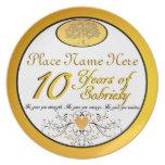 Personalizado 10 años de aniversario de la plato de comida