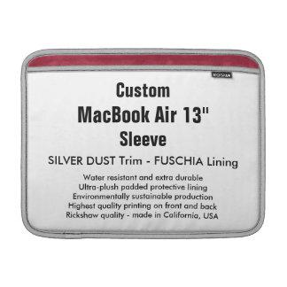 """Personalizado 13"""" plata y Fuschia de la manga de Funda Macbook Air"""