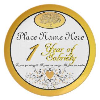 Personalizado 1 año de placa del aniversario de la plato de cena