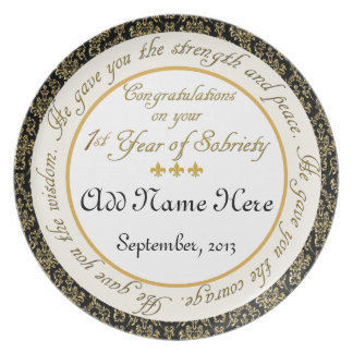 Personalizado 1 año de placa del aniversario de la plato de comida