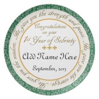 Personalizado 1 año de placa del aniversario de la plato para fiesta