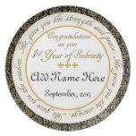 Personalizado 1 año de placa del aniversario de la platos de comidas