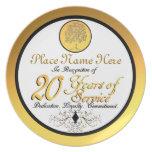 Personalizado 20 años de servicio platee/placa platos de comidas