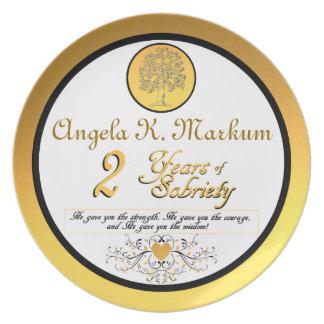Personalizado 2 años de placa del aniversario de l platos