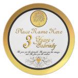 Personalizado 3 años de placa del aniversario de l platos de comidas