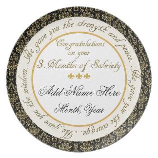 Personalizado 3 meses de la sobriedad de placa de  platos de comidas