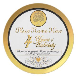 Personalizado 4 años de placa del aniversario de l plato