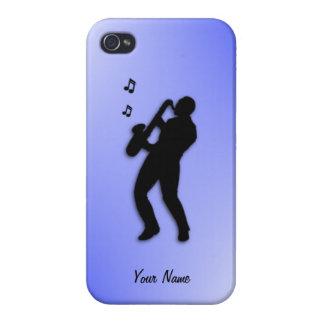 Personalizado 4s del jugador de saxofón iPhone 4 funda