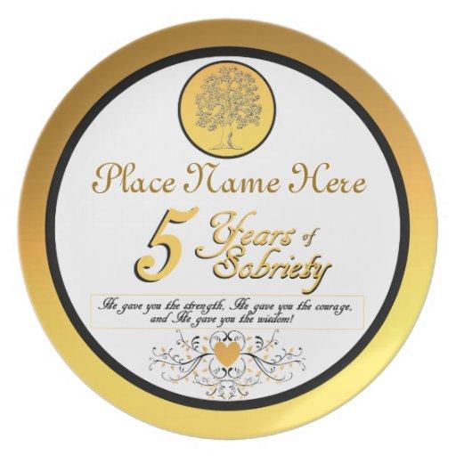 Personalizado 5 años de placa del aniversario de l platos