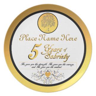 Personalizado 5 años de placa del aniversario de plato