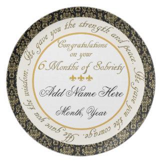 Personalizado 6 meses de la sobriedad de placa de  platos de comidas
