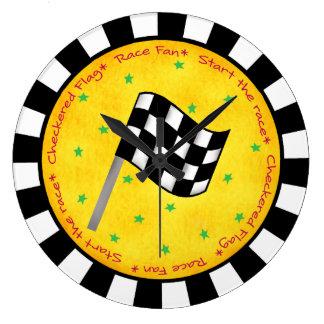 Personalizado a cuadros del amarillo del negro de reloj redondo grande