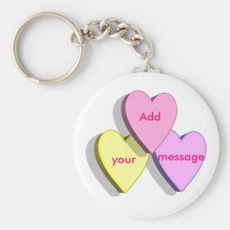 Personalizado adaptable de la mirada de los corazo llavero redondo tipo pin