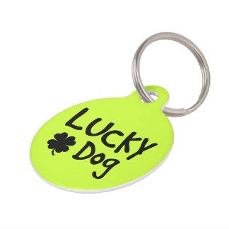 Personalizado afortunado del perro del trébol verd placas para mascotas