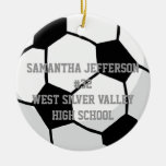 Personalizado alrededor de balón de fútbol se divi ornamentos para reyes magos