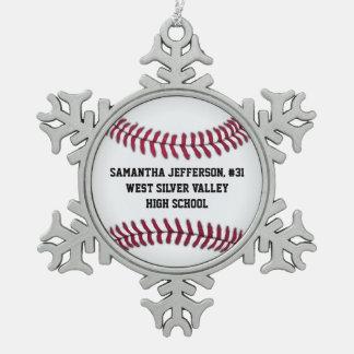 Personalizado alrededor de deportes del béisbol adorno de peltre en forma de copo de nieve