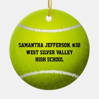 Personalizado alrededor de pelota de tenis se adorno navideño redondo de cerámica