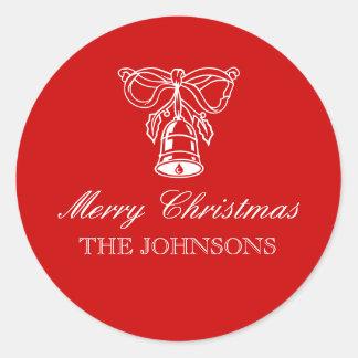 Personalizado alrededor del regalo del navidad pegatina redonda