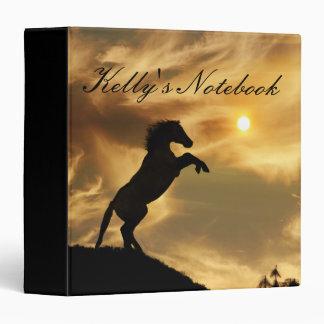 """Personalizado alzando el caballo en el cuaderno de carpeta 1 1/2"""""""