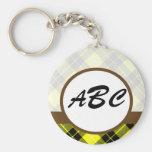 Personalizado amarillo de la tela escocesa con mon llavero personalizado