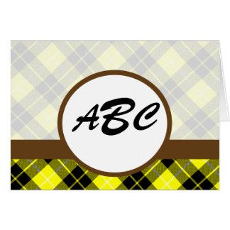 Personalizado amarillo de la tela escocesa con mon tarjeta de felicitación