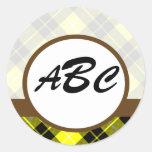 Personalizado amarillo de la tela escocesa con pegatina redonda