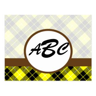 Personalizado amarillo de la tela escocesa con postales