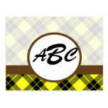 Personalizado amarillo de la tela escocesa con postal