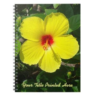 Personalizado amarillo del hibisco libretas espirales