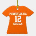Personalizado anaranjado del jersey de equipo de d adornos de navidad