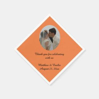 Personalizado anaranjado personalizado casando servilletas de papel