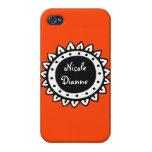 Personalizado anaranjado sólido abstracto iPhone 4 fundas