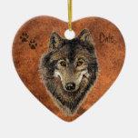 Personalizado anticuado, lobo, lobos y pistas adorno navideño de cerámica en forma de corazón