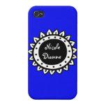 Personalizado azul brillante sólido abstracto iPhone 4 carcasa