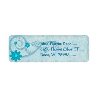 PERSONALIZADO azul de Deco de la flor Etiqueta De Remitente