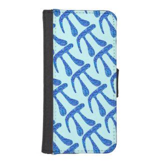 Personalizado azul de la diversión del empollón fundas billetera de iPhone 5
