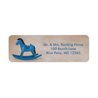 Personalizado azul del bebé del caballo mecedora etiqueta de remitente