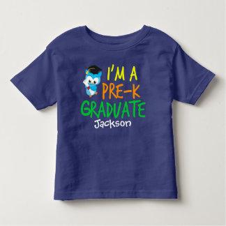 Personalizado azul lindo graduado del búho de playera de bebé