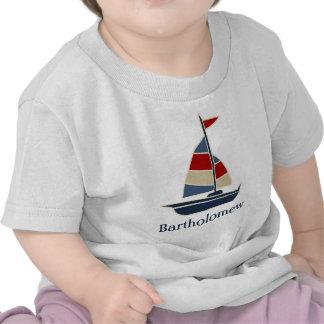 Personalizado azul, rojo, poner crema náutico del  camiseta
