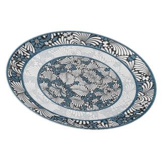 Personalizado azul y blanco retro del helecho platos para fiestas